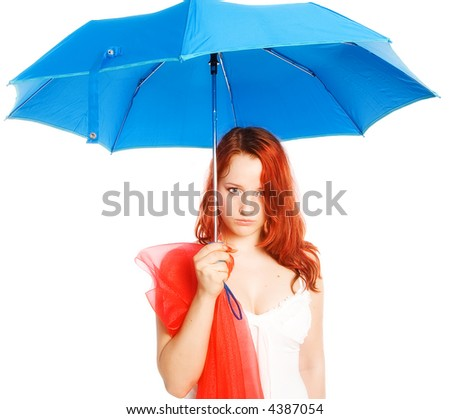 The girl and a dark blue umbrella. Sometimes the rain can go and to studios
