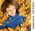 The girl and autumn leaves - stock photo
