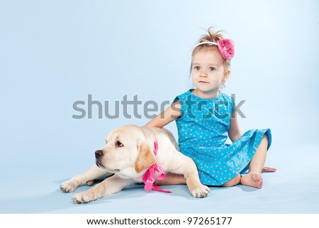 The girl and her best friend. Cute friends, isolated in the studio - stock photo