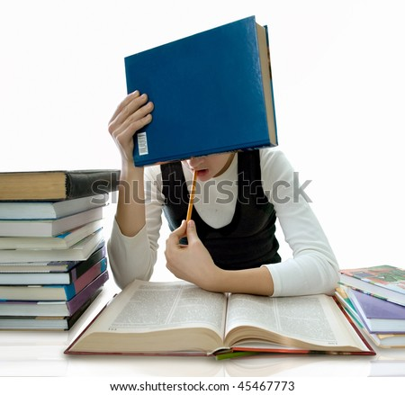 The girl and is a lot of textbooks. It is isolated