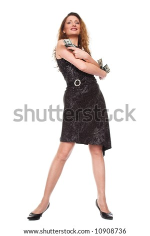 The girl and money. On a white background - stock photo