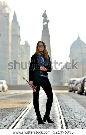 The girl and the city of Lodz, Poland
