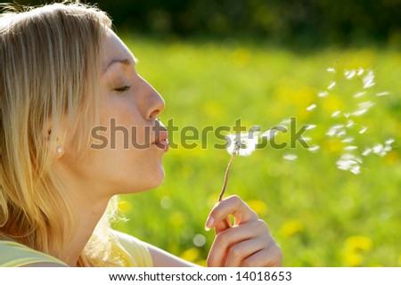 The girl blows on a dandelion on a background of a grass - stock photo