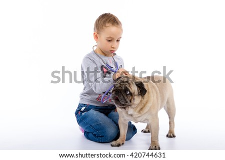 The girl cares for the dog scratching, listening to the stethoscope. isolated background - stock photo