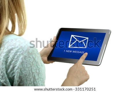 the girl checks on your tablet email holding the tablet in hand isolated on white background - stock photo