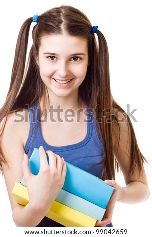 The girl child  with books on white background
