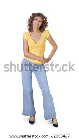 The girl costs on a white background - stock photo