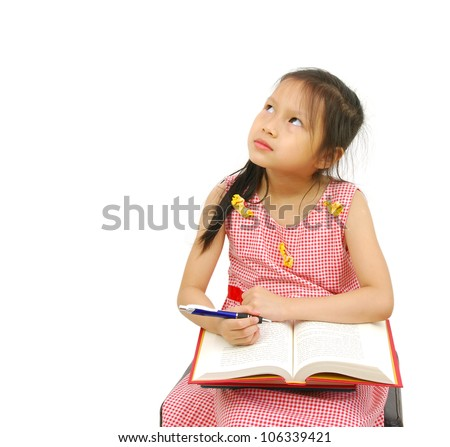 The girl does homework, isolated on a white background - stock photo