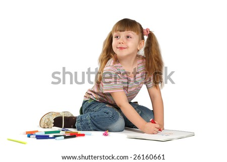 The girl draws on a white background