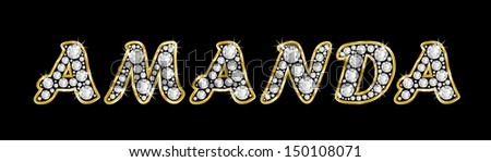 The girl, female name AMANDA made of a shiny diamonds style font, brilliant gem stone letters building the word, isolated on black background.