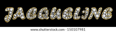 The girl, female name JACQUELINE made of a shiny diamonds style font, brilliant gem stone letters building the word, isolated on black background.