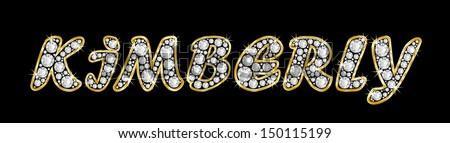 The girl, female name KIMBERLY made of a shiny diamonds style font, brilliant gem stone letters building the word, isolated on black background.