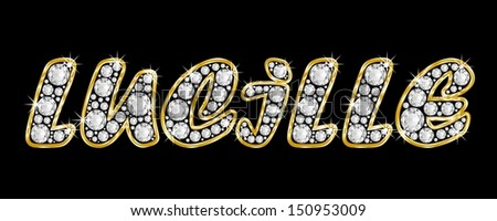 The girl, female name LUCILLE made of a shiny diamonds style font, brilliant gem stone letters building the word, isolated on black background.