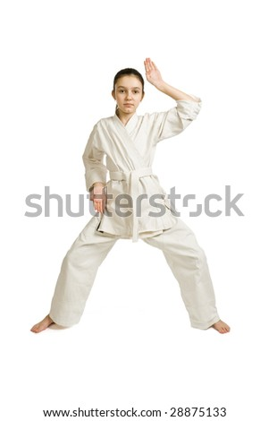 The girl-fighter aikido carries out exercise