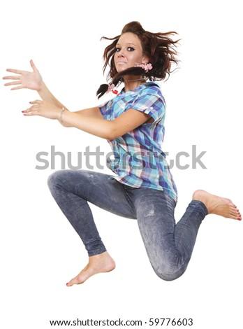 The girl flies aside - stock photo
