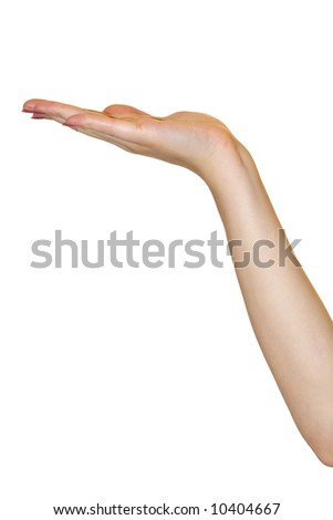 The girl hand located on a white background