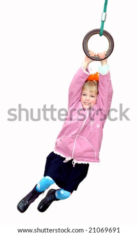 The girl hangs on bars on a white background - stock photo