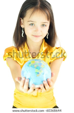 The girl has control over earth mode - stock photo