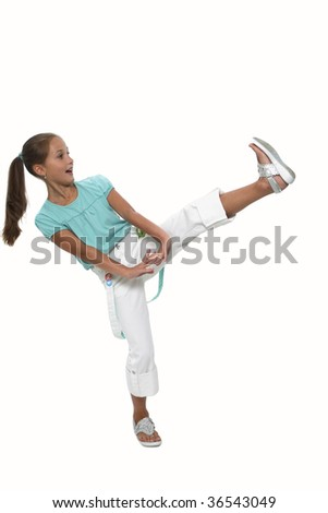 The girl has lifted a leg(foot) and is surprised