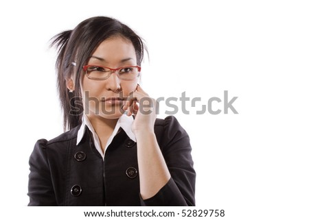 The girl has reflected on what that - stock photo