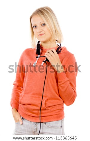 the girl headphones hanging on the neck isolated on white background - stock photo