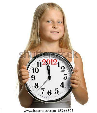 The girl hold in hands a big clock with figures 2012. It is isolated on a white background - stock photo
