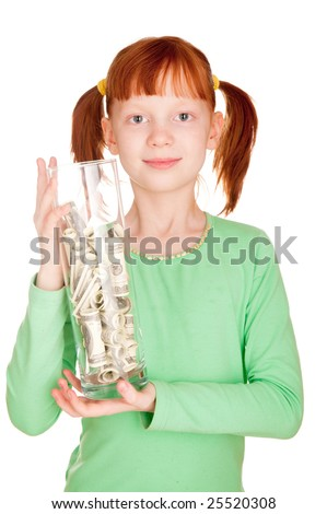 The girl holds a vase with dollars. A photo on a white background. - stock photo
