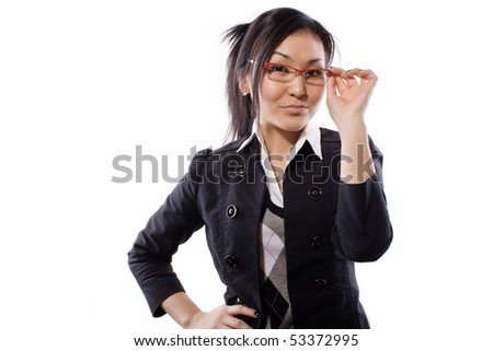 The girl holds points and thinks - stock photo