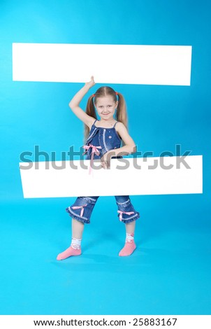 The girl holds two white board on blue background - stock photo