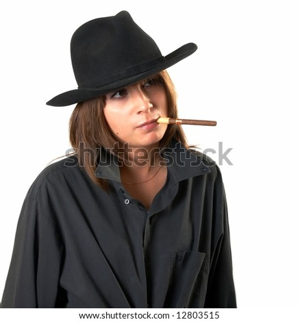The girl in a black shirt and a cowboy's hat
