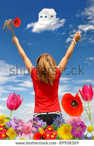 The girl in a blooming meadow looks at house from clouds - stock photo