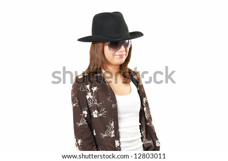 The girl in a brown jacket and a cowboy's hat