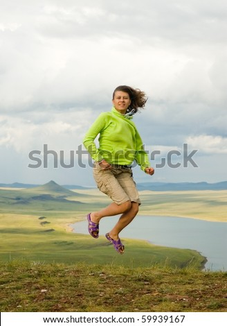 The girl in a jump - stock photo