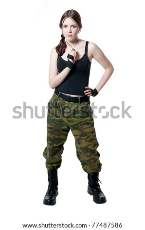 The girl in a military uniform isolated on white - stock photo