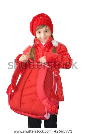 The girl in a red jacket and a red cap - stock photo