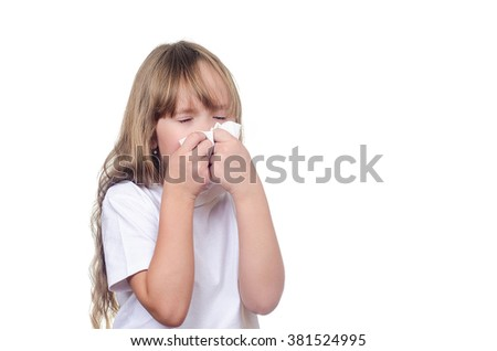 The girl in a sporting undershirt wipes snivels and sneezes - stock photo