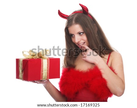 The girl in a suit a red devil - stock photo