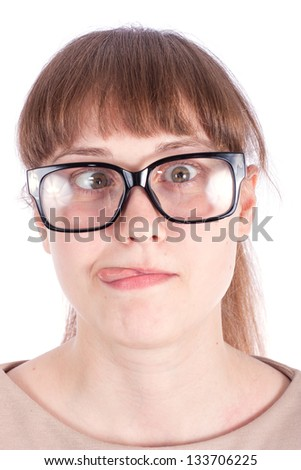 The girl in black glasses to view on a white background.