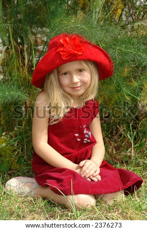 the girl in red hat - stock photo