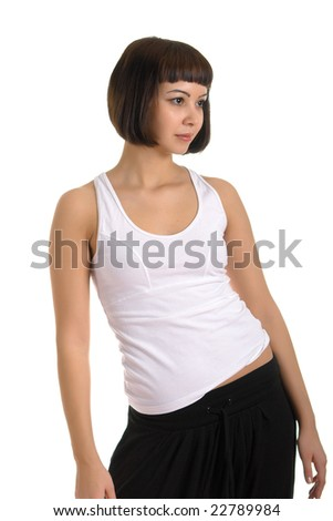 The girl in sportswear on a white background. Isolation