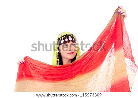 The girl in the Eastern dress, dancing, isolated on white background