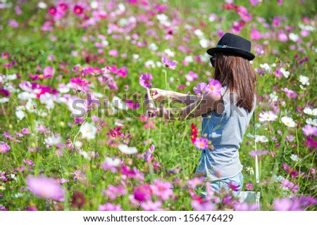 The girl in the flower field