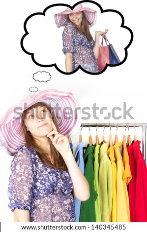 The girl in the shop - stock photo