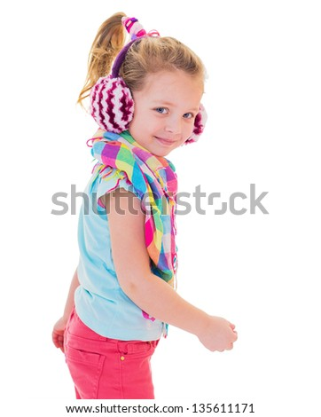 the girl in warm earphones in studio on a white background the isolated
