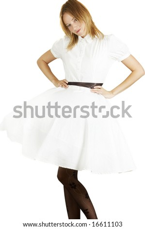 the girl in white gown - stock photo