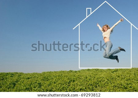 The girl in white jumps in the field in house of dream - stock photo