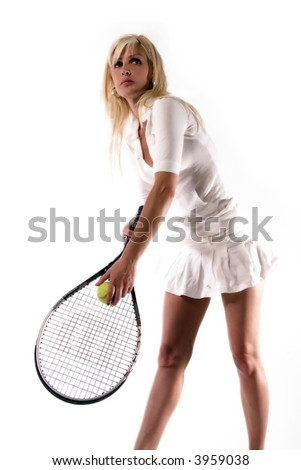 the girl is serving the ball - stock photo