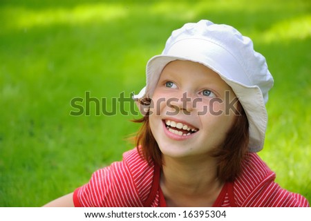 The girl laughs - stock photo
