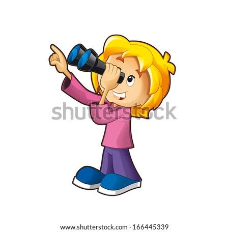 The girl looking through the binoculars - illustration fot the children - stock photo