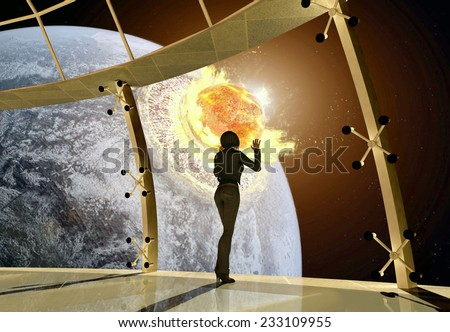 The girl looks at the death of the earth. - stock photo